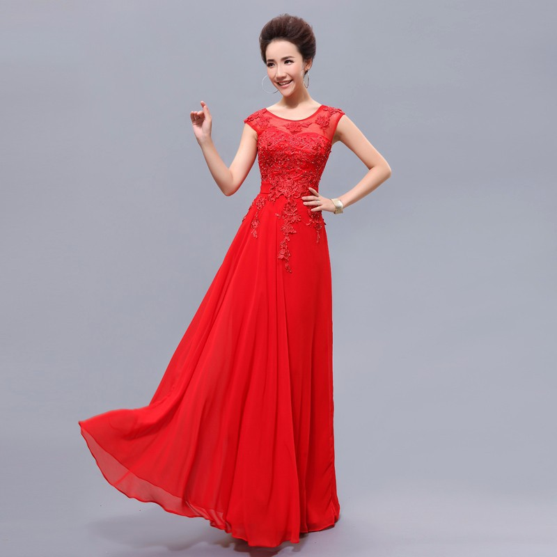 Cheap long red bridesmaid dresses with beading elegant for Long dresses for wedding party
