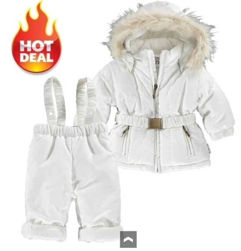 Гаджет  2014 New winter baby boys girls clothing set hoodies winter warm outerwear coat + overalls suit bebe warm Jacket Parkas costume None Детские товары