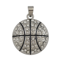 Bling bling hip hop jewelry metal zinc alloy crystal black enamel basketball pendants