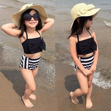 Girls Swim Suit Clothing Sets Summer Kids Beach Dress Baby Swim Wear Fashion Children Bow Desing Stripe Style Casual D05X29