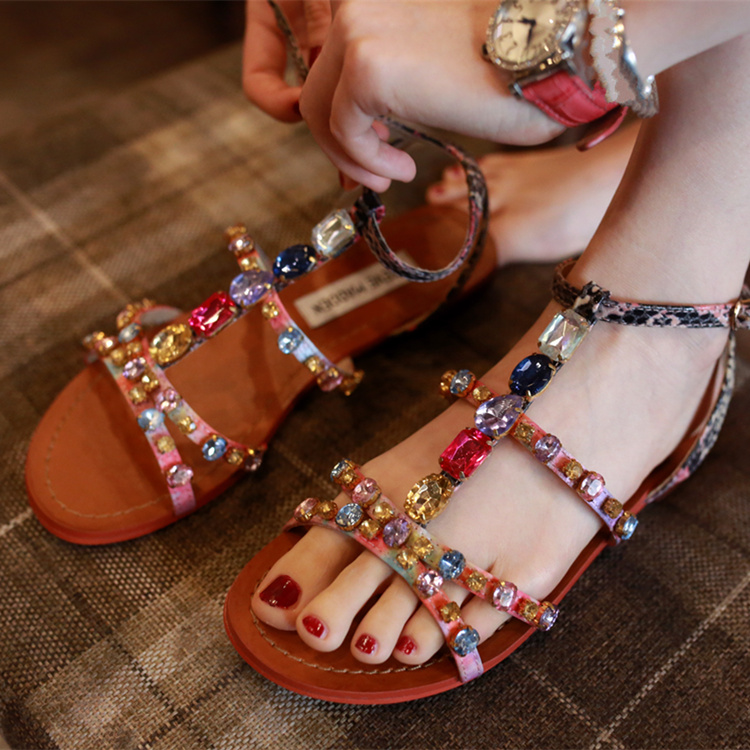 Фотография 2016 Newest Rainbow studded Gladiator Sandals Women Flats Rivets Ankle Strap Summer Shinning Diamond High quality Shoes Flats
