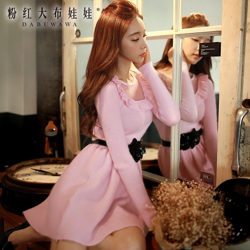 Здесь можно купить  Long sleeved dress pink doll 2015 Korean women winter slim waist wool dress. Long sleeved dress pink doll 2015 Korean women winter slim waist wool dress. Одежда и аксессуары