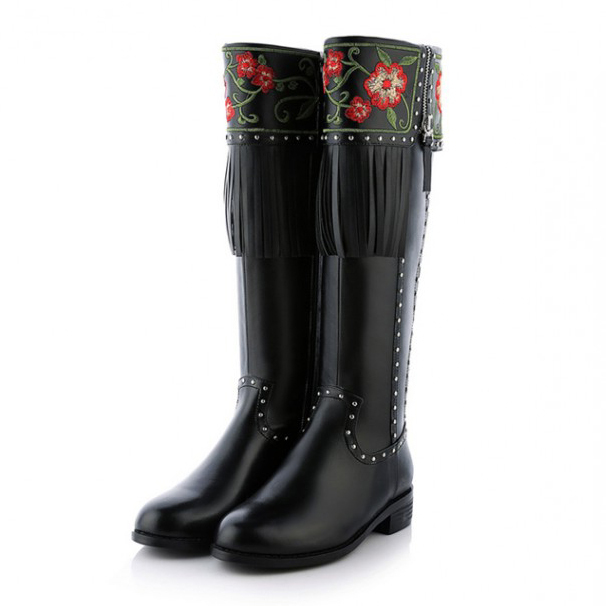 Brand design Genuine Leather Womens Fashion embroidered Knee High Boots ladies Flats heels Sexy Rivets Mixed Colors Riding boots<br><br>Aliexpress