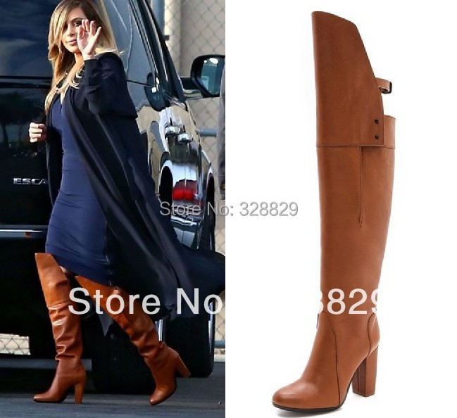 Brown Over The Knee High Heel Boots - Boot Hto