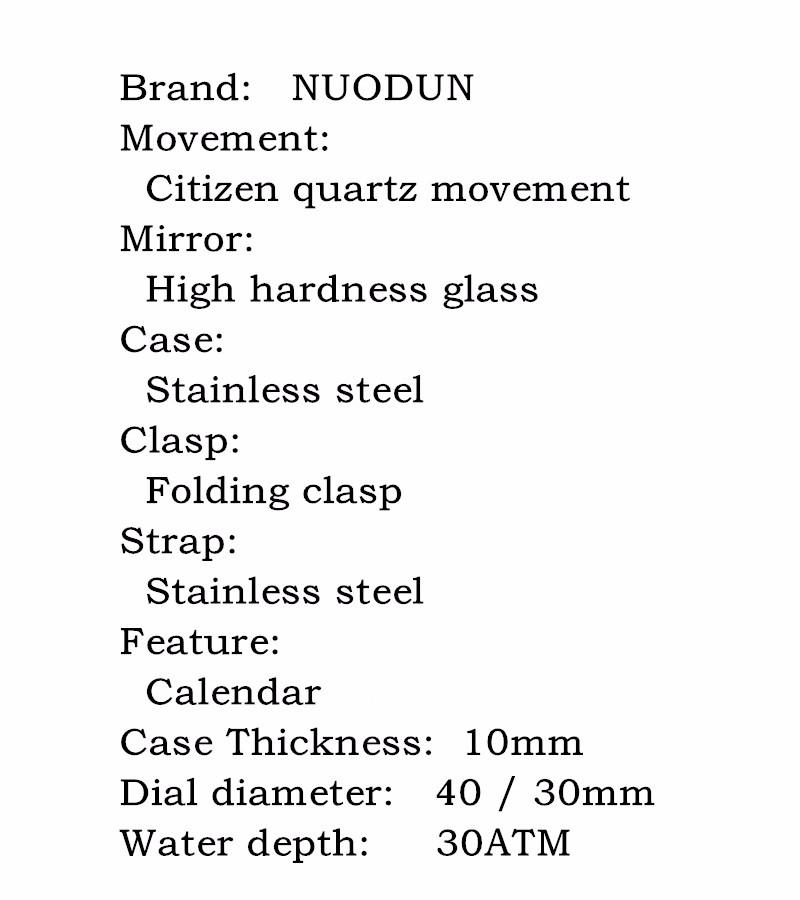 Золото 2016 Новый Бренд NuoDun Мода Часы Устойчивы Подсветка Часы Мужчины Сапфир Из Нержавеющей Стали Классические Часы Horloges Mannen