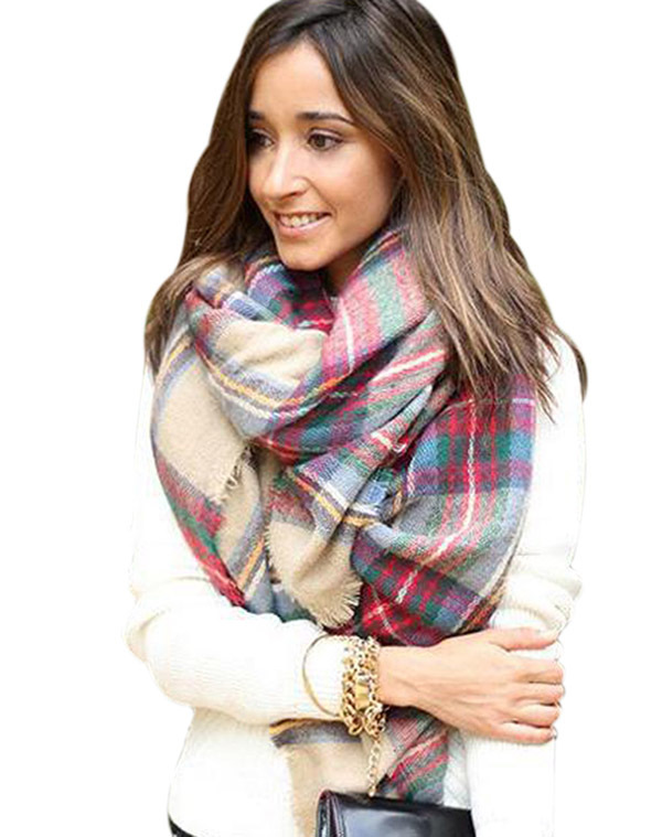 2015 Lady Women Winter Large Blanket Imitation Cashmere Checked Scarves Oversized Plaid Shawl Tartan Scarf Wrap - Shenzhen Sundah Tech Co., Ltd.(Craft & Gift Dept. store)
