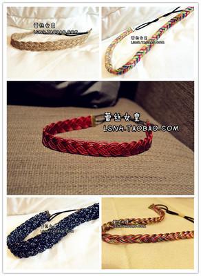 Hotsale Retro 5COLOR Red PU leather braid hair band elastic headbands hair accessories for women hair ornaments headwear