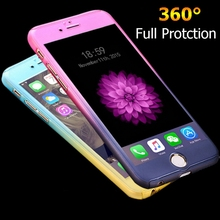 Luxury 360 Degree Full Body Protection Cases For iPhone 6 For iPhone 6S Plus Cover +Tempered Glass Fashion Gradient Accessories(China (Mainland))