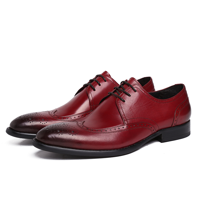 Фотография Brand fashion black/Reddish brown oxfords shoes mens dress shoes genuine leather business shoes formal mens wedding shoes