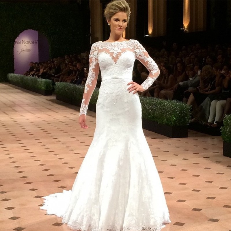 2015 high quality high neck mermaid cap sleeves wedding for Long sleeve beaded wedding dress