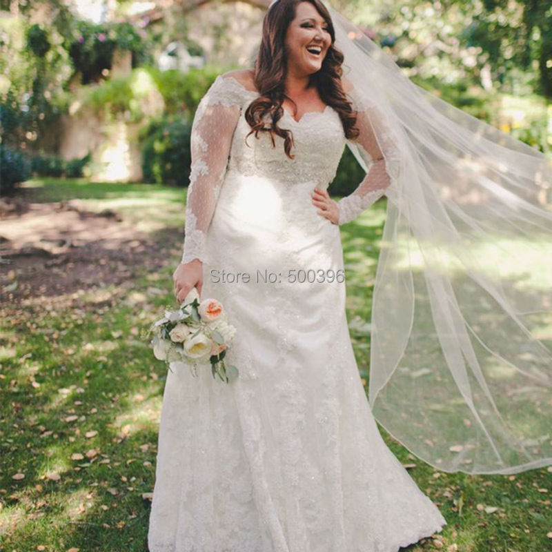 Plus size elegant sheer long sleeves wedding dress 2016 for Plus size lace wedding dresses with sleeves