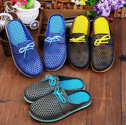 product 2015 Fashion Summer Slippers For Men Garden Clog Shoes Sandals Comfort Beach Lazy Shoes <font><b>zuecos</b></font> goma