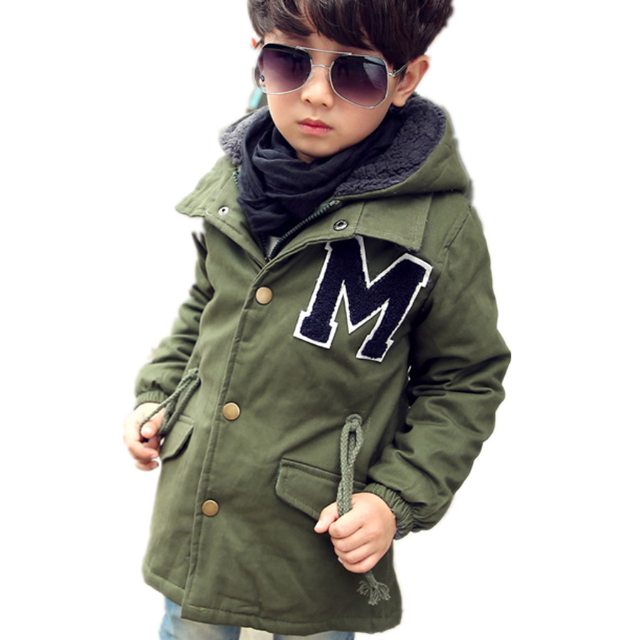 Size 3T-10 Children's Boys Kids Thick Long Winter Snow Warm Faux Fur Lining Jacket Coat,Army Green,M066,