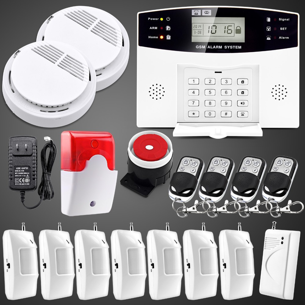 Гаджет   Sim Call Alarme Wireless LCD Keyboard GSM Home Burglar Auto Dialer Pir Sensor Remote Control Alarm Security System None Безопасность и защита