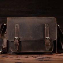 1055.Genuine Leather Men Bag Crazy Horse Men's Handbags Casual Business Laptop Shoulder Bags Briefcase Messenger bag NEW - Guangzhou Western Cowboy Industry Co Ltd. store