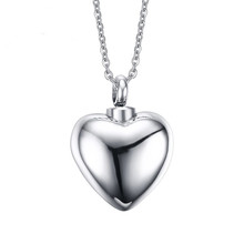 Stainless Steel Engrave Personalized Cremation Necklace Silver Plain Heart Memorial Pendant Urn Necklace(China (Mainland))