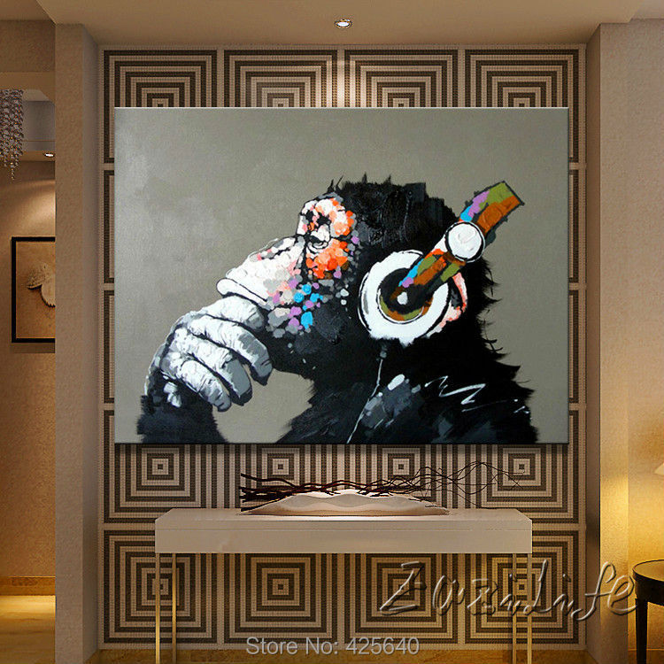Oil painting On Canvas Wall Pictures Painting For Living Room Wall Art Pop banksy graffiti Ape modern abstract hand painted(China (Mainland))