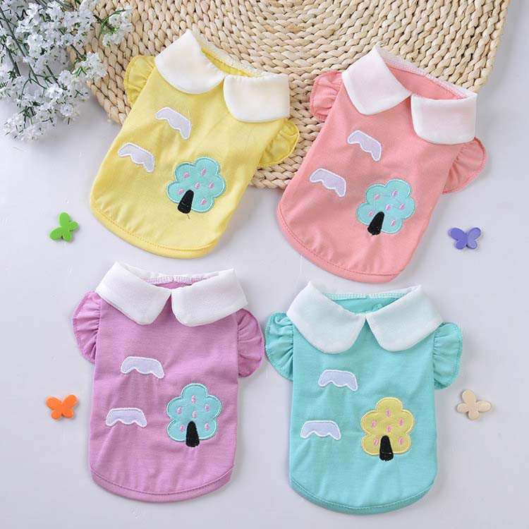 Fresh Cute Dog Coat Shirt For Small Dogs Puppy Pet Cotton T-shirt Vest Teddy Chihuahua Clothes in Spring and Summer Blue Yellow Pink Purple20