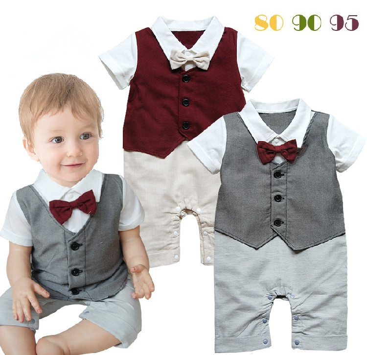 New summer 2014 Boys Dress baby boy gentleman romper with bow tie baby wear newborn clothes vest ...