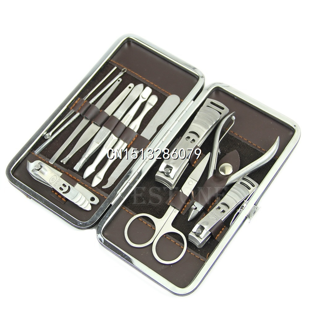 Professional 12in1 Pedicure/Manicure Set Nail Clippers Cuticle Grooming Kit Free Shipping(China (Mainland))