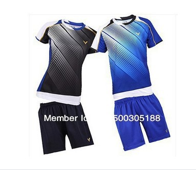 wholesale!Original edition New 2012 South Korea Olympic race suit Mens Badminton / Tennis Polo Shirts+Shorts Black/Blue(China (Mainland))