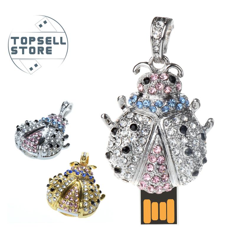 fashion cool necklace crystal jewelry metal goldbug 4gb 8gb 32gb 64gb pendrive pen drive usb flash drive with h2testw free ship(China (Mainland))