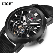 Reloj Hombre LIGE Luxury Brand Men's Fashion Canvas strap Automatic Watch Men Dive Military Wristwatches Clock Relogio Masculino