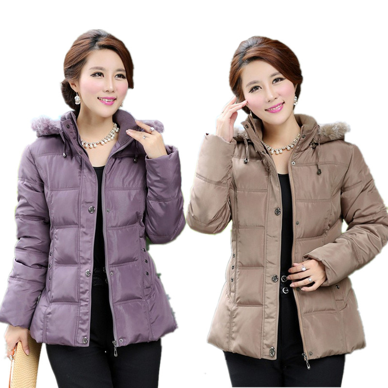 2015 Female Winter Jacket Women Middle-aged Plus Size Fur Collar Hooded Cotton Down Jackets Winter coat Women Parka XL-5XL(China (Mainland))