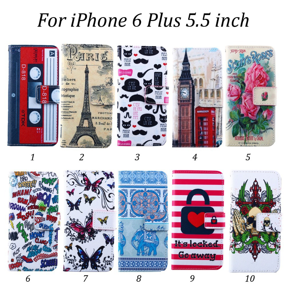 100pcs/lot Paris Tower Scott's Roses Tribe Series Magnetic Flip 2 Card Slots Leather Case with Stand For iPhone 6 Plus 5.5 inch(Hong Kong)