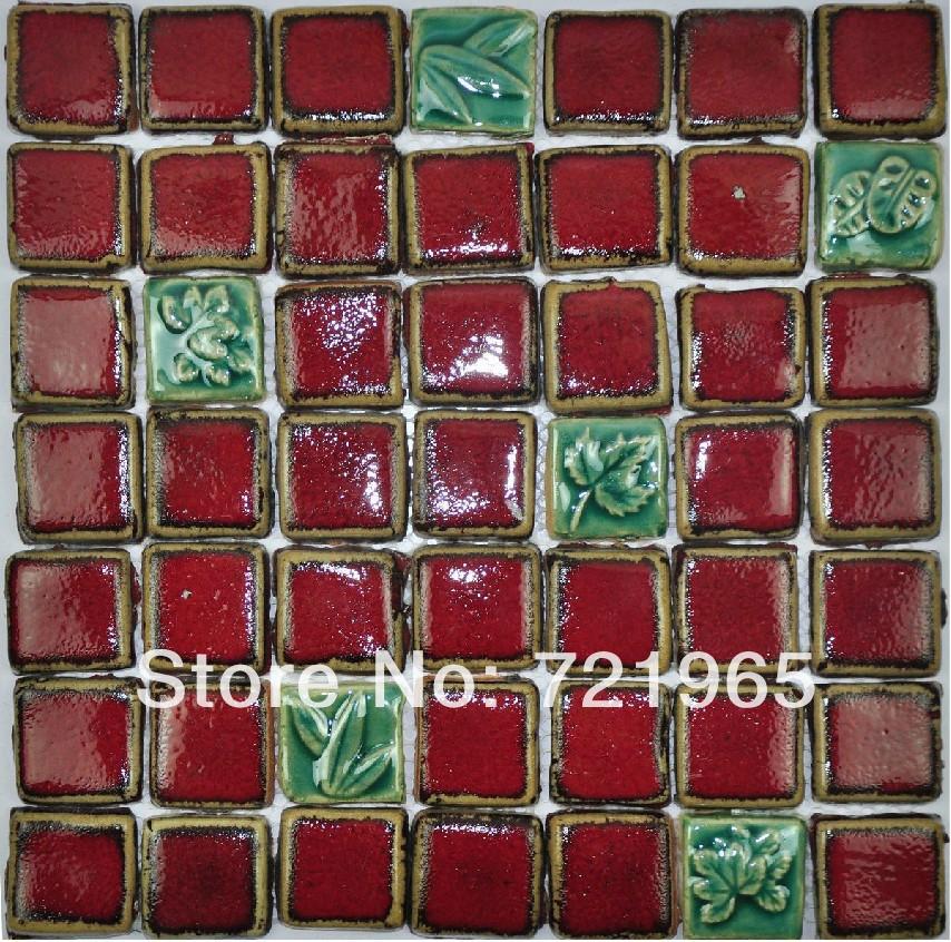 Hand craft red porcelain mosaic tiles backsplash kitchen for Mosaic tile for crafts