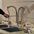LED Light Dual Swivel Spout Kitchen Faucet Deck Mount Hhot and Cold Water Kitchen Brushed Nickel