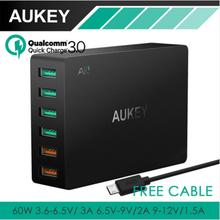 AUKEY Multi USB Зарядное Устройство Быстрой Зарядки 3.0 Порта + 4 USB Порта Fast Turbo Зарядное Устройство для Samsung LG G5 iPhone iPad(China (Mainland))