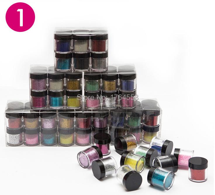 Best Selling 12PCS/LOT 12 Color Fine Glitters Decoration Nail Art Powder Dust Bottle C052(China (Mainland))