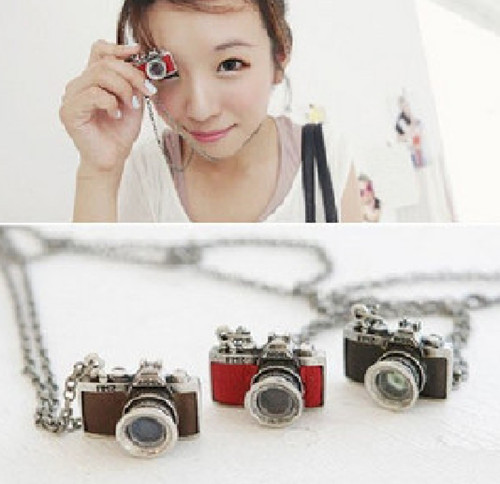 PY New 1 Pcs 3 Colors Women Lady Girl Vintage Retro Mini Camera Necklace Pendant Chain Jewelry Wholesale Freight(China (Mainland))