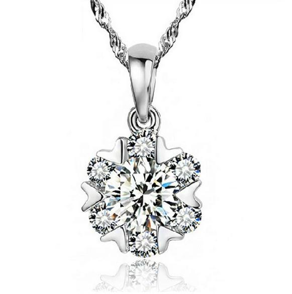 Real 925 Sterling Silver SNOWFLAKE Pendant Crystal Pendant Necklaces Wedding 64 Faces Swiss Crystal quartz crystal pendant(China (Mainland))