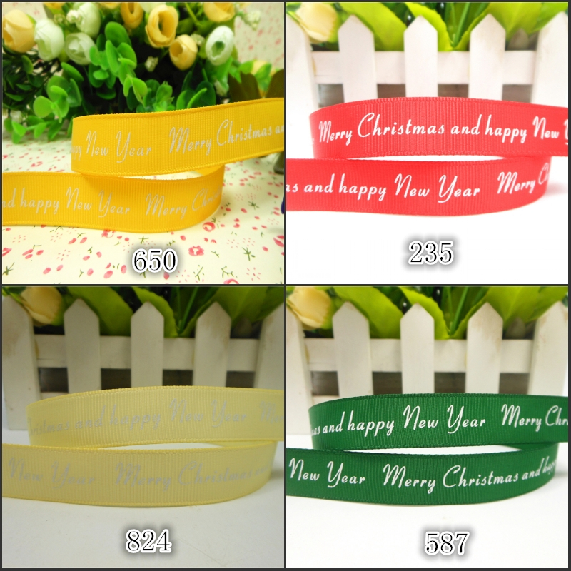 "4 Different Color 50 Yards 5/8""16mm Merry Christmas and Happy New Year Printed Grosgrain Ribbon(China (Mainland))"