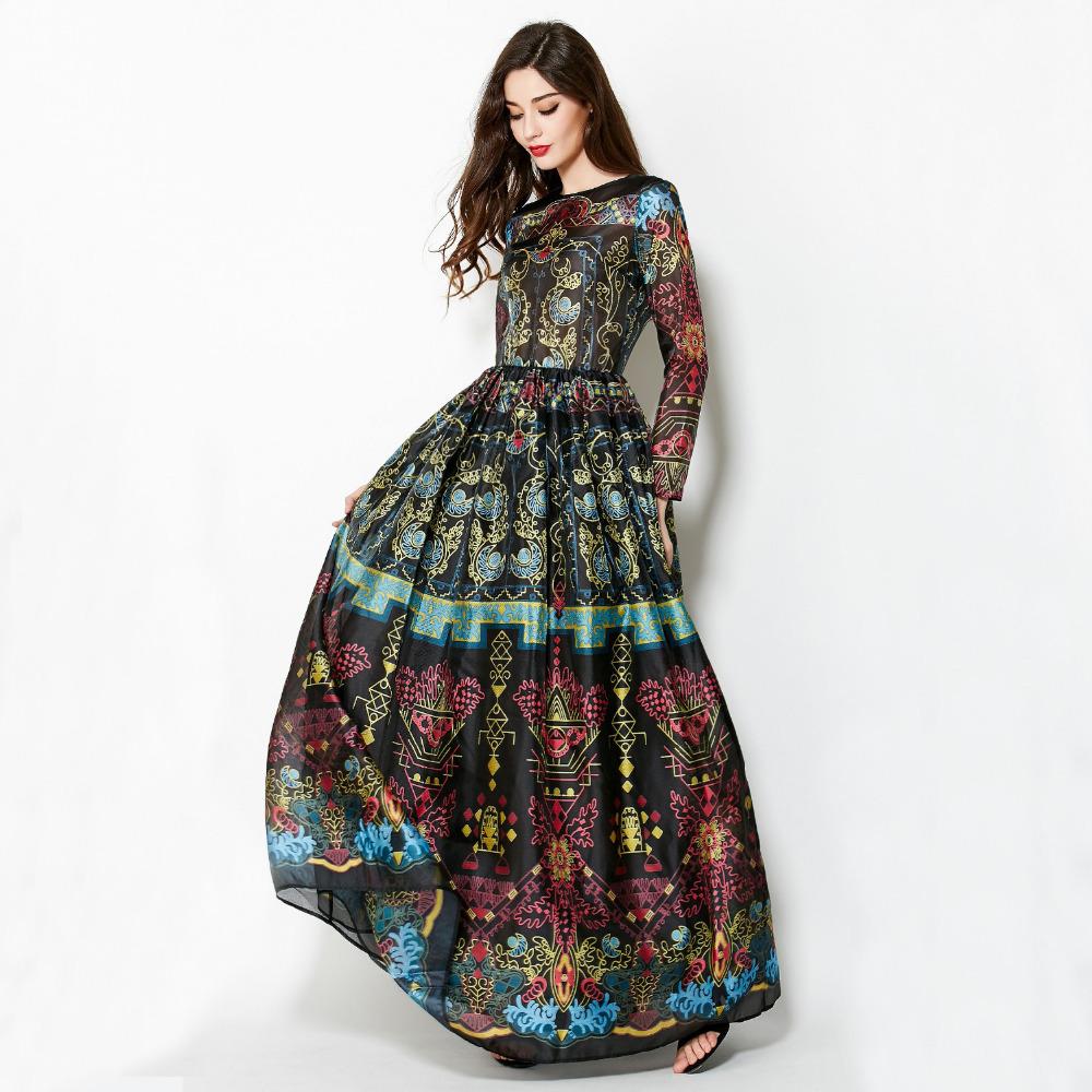 High Quality Newest Fashion Runway Maxi Vestidos Printed Women's Long Sleeve Big Swing Designer Summer Retro Style Long Dress(China (Mainland))