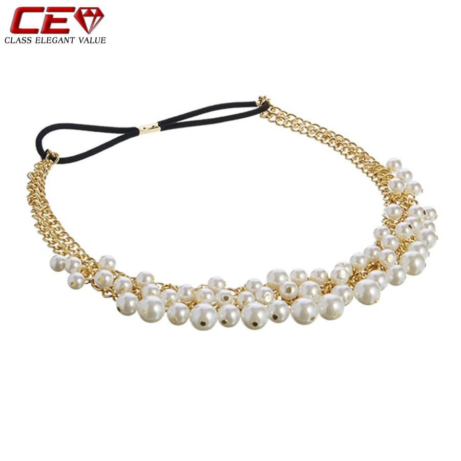 Brand Fashion Pearl Headbands For Women Gold Hair Chain Wedding Accessories bijoux de tete Femme tiara noiva perlas Fine Jewelry(China (Mainland))