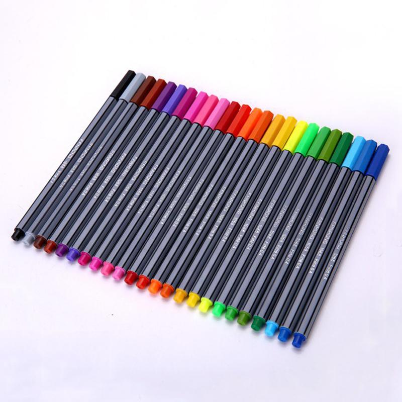 24 Colors 0.4mm Fineliner Pens Superfine Marker Pen Water Based Assorted Ink Arts Drawing for Children Graffiti Hook Fiber Pens(China (Mainland))