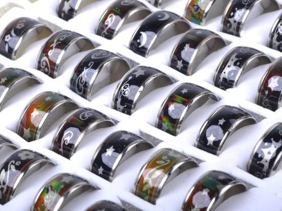 Wholesale 10Pcs Lots Change Color Silver Plated Mood Rings Wholesale Bulk Fashion Jewelery(China (Mainland))