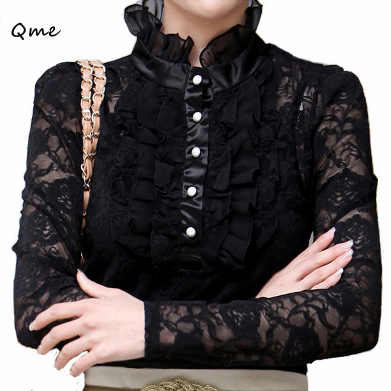 Awesome  Lace Tops Slim Fit Ladies Shirts Black Fashion Women39s Lace Blouses