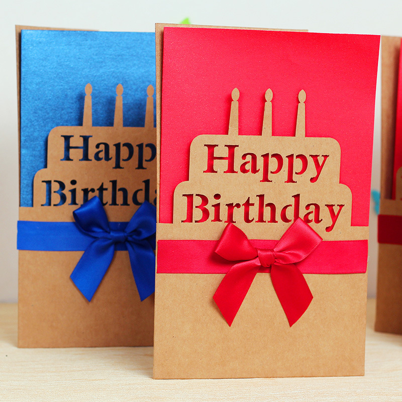 Bow Happy Birthday Paper Greeting Card/ 6PCS/LOT 30g/pc