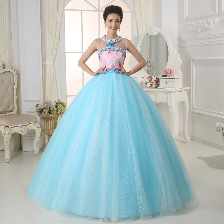 Light blue floral flowers uxury medieval dress ball gown siss princess