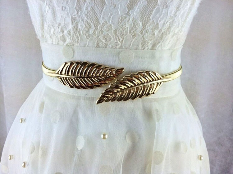 Hot Sale Fashion Stylish Metal Golden/Silver Leaves Chain Belt Women's Waist Elasticity Waist Belt GI677206(China (Mainland))