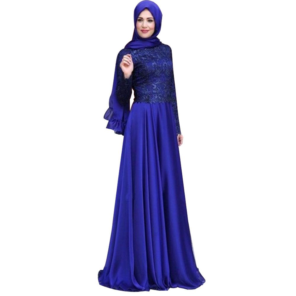 New O-Neck A Line Long Sleeve Hijab Evening Dress 2016 Abaya in Dubai Moroccan Kaftan Muslim Arabic Royal Blue Imported Party(China (Mainland))