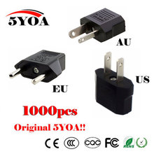Buy 1000PC Universal US EU AU Plug USA Euro Europe Travel Wall AC Power Charger Outlet Adapter Converter 2 Round Socket Input Pin for $188.68 in AliExpress store