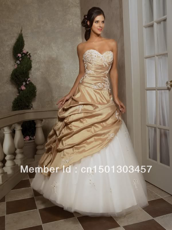 2013 new stock white gold formal prom ball party evening for White and gold wedding dresses