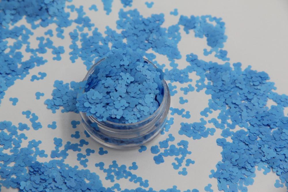 Resistente a los disolventes de Neón de Color Azul Mickey Mouse forma Confeti Lentejuelas para Esmalte de Uñas y decoración DIY 1 Pack = 50g(China (Mainland))
