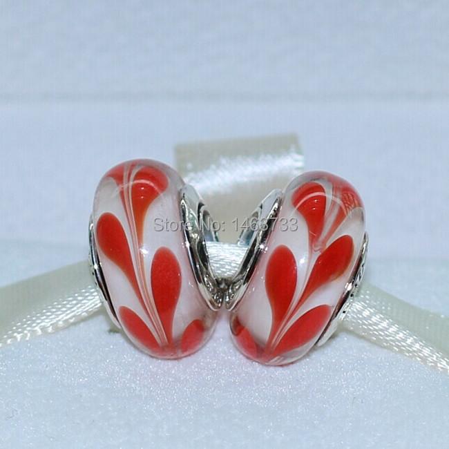 2pcs 925 Sterling Silver Thread Orange Swirly Swirl Murano Glass Beads Fits European Style Jewelry Charm Bracelets & Necklaces(China (Mainland))