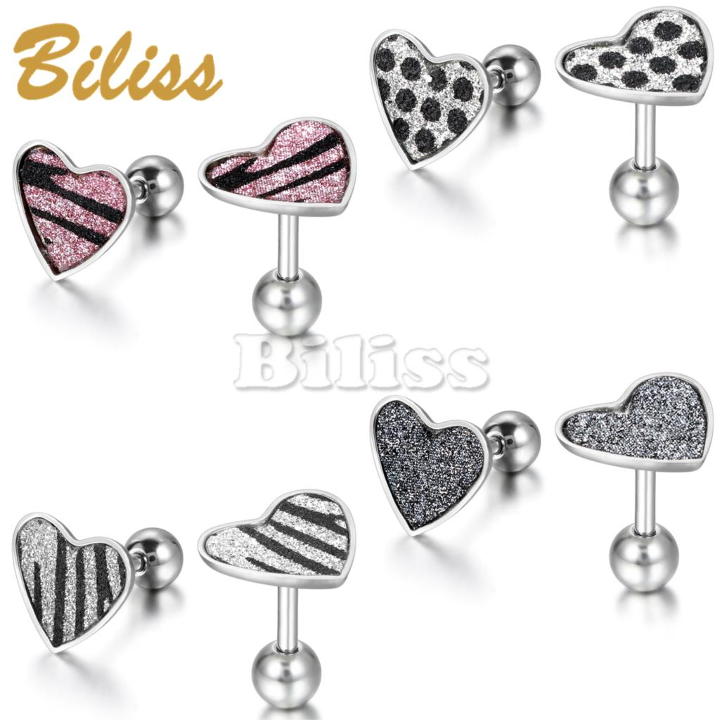 2015 Unique Fashion Women's Stainless Steel Stud Earrings Heart Earrings Women Jewerly Earring Pink/black/Silver colors(China (Mainland))